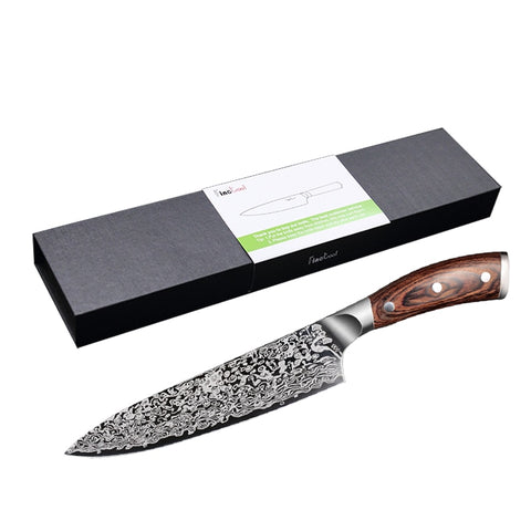 "Image of 8"" PROFESSIONAL SANTOKU CHEF KNIFE WITH PAKKAWOOD HANDLE"