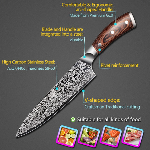 "8"" PROFESSIONAL CHEF KNIFE WITH PAKKAWOOD HANDLE"