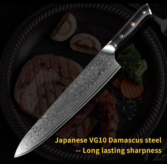 Damascus Gyuto 10 Inch Japanese Chefs Knife