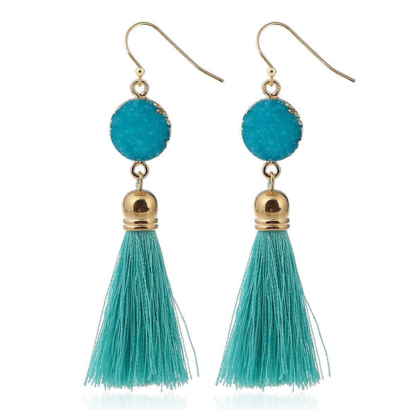 Wholesale Charm Bohemian Tassel Earrings Hanging Drops for Women Girls Statement Earrings Vintage Dangle Earring Jewelry 8 color