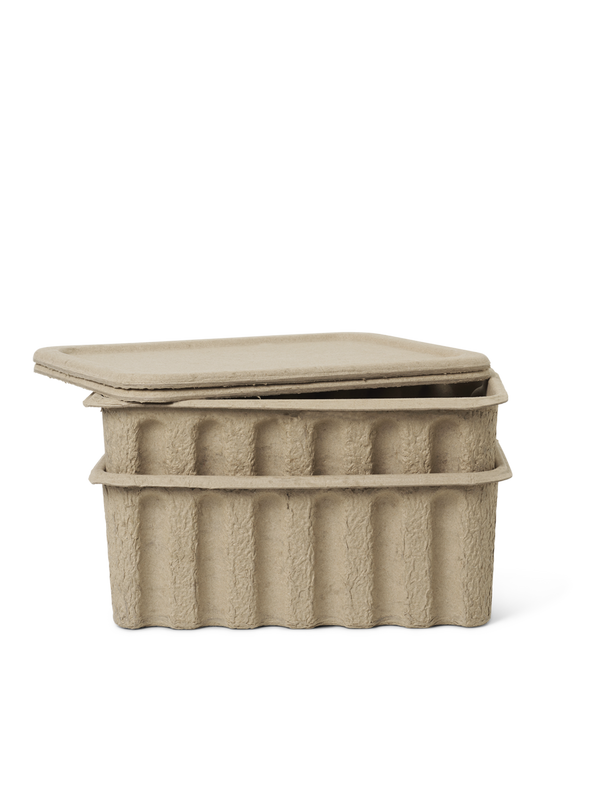 Paper Pulp Box large - set of 2 - Brown