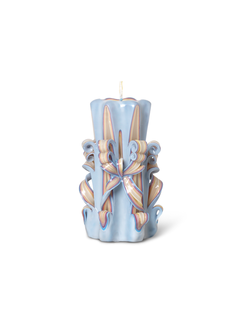 Hand-Carved Candles - Light Blue