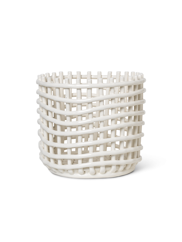 Ceramic Basket - Large - Off-White