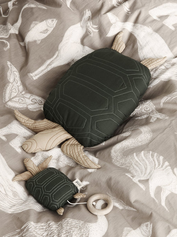 Turtle Quilted Cushion - Deep Forest