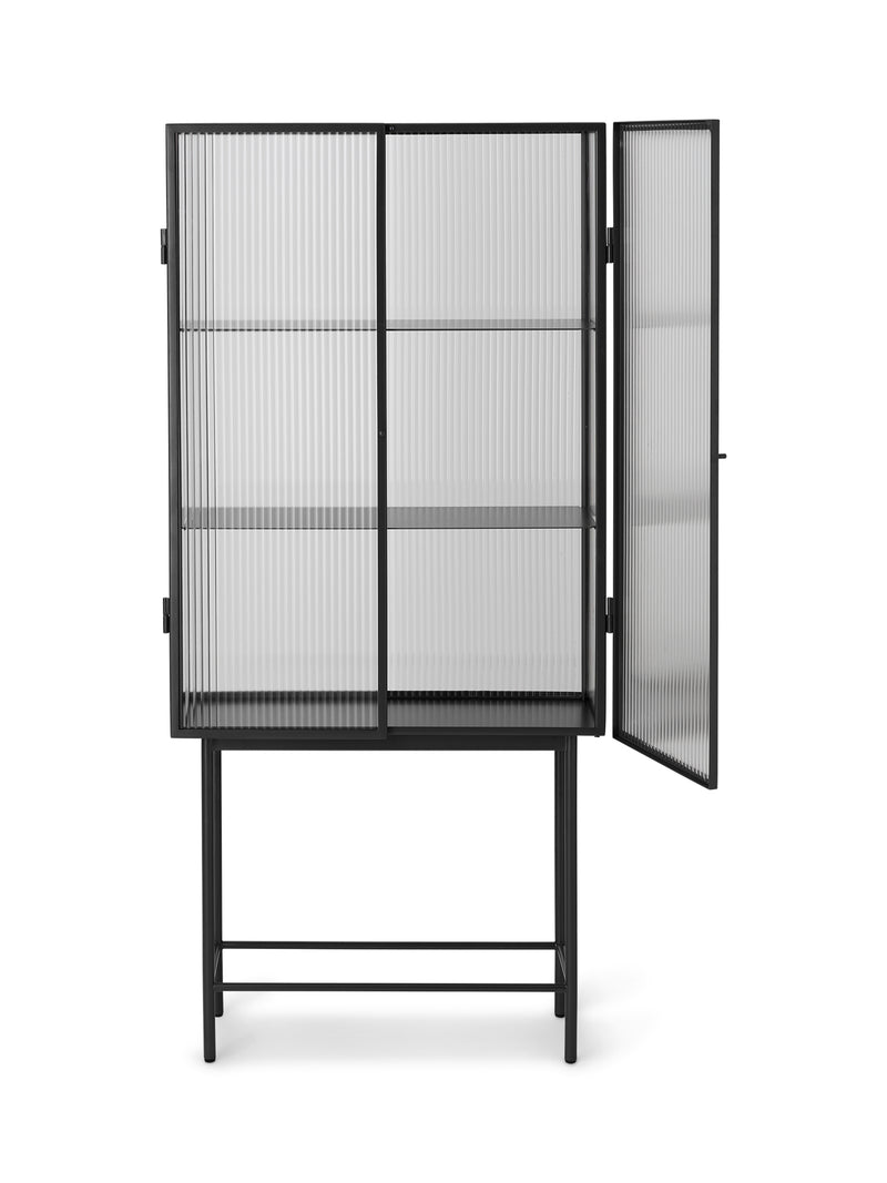 Haze Vitrine - Reeded glass Black