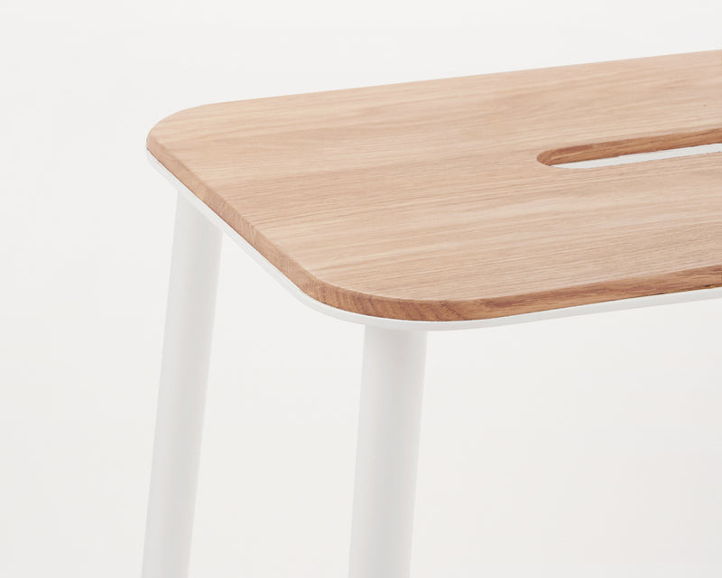 Adam Stool | Oak / Matt white H50