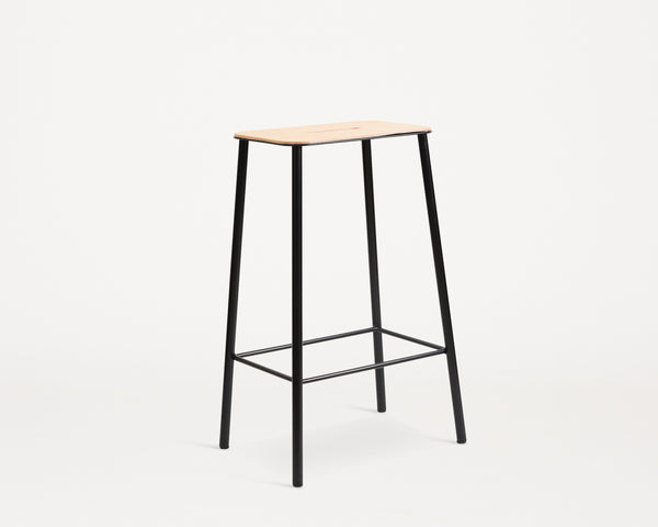 Adam Stool | Natural Leather / Black steel H65