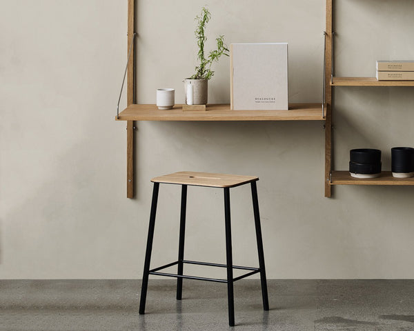 Adam Stool | Oak / Matt Black H50