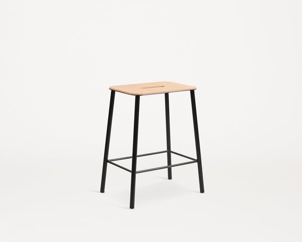 Adam Stool | Natural Leather / Black steel H50