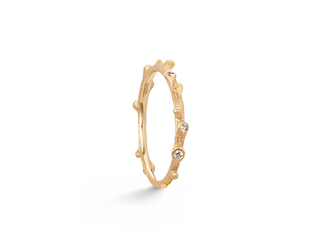 Nature ring in 18K yellow gold and diamonds TW.VS