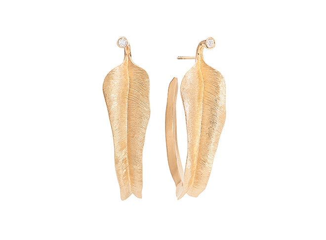 Leaves earrings in 18K yellow gold - Large