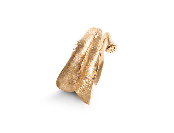 Leaves ring in 18K yellow gold
