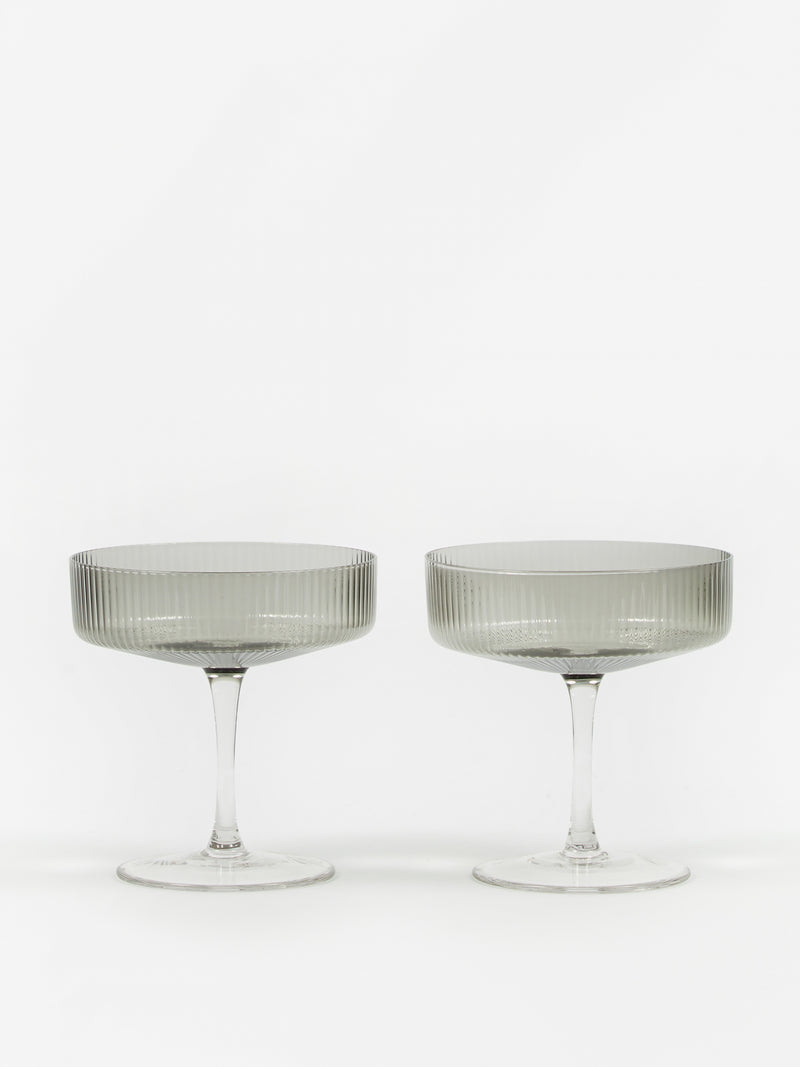 Ripple Champagne Saucer - Set of 2 - Smoked Grey