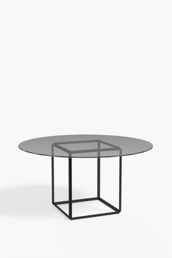Florence Dining Table -  Iron Black / Smoked Glass