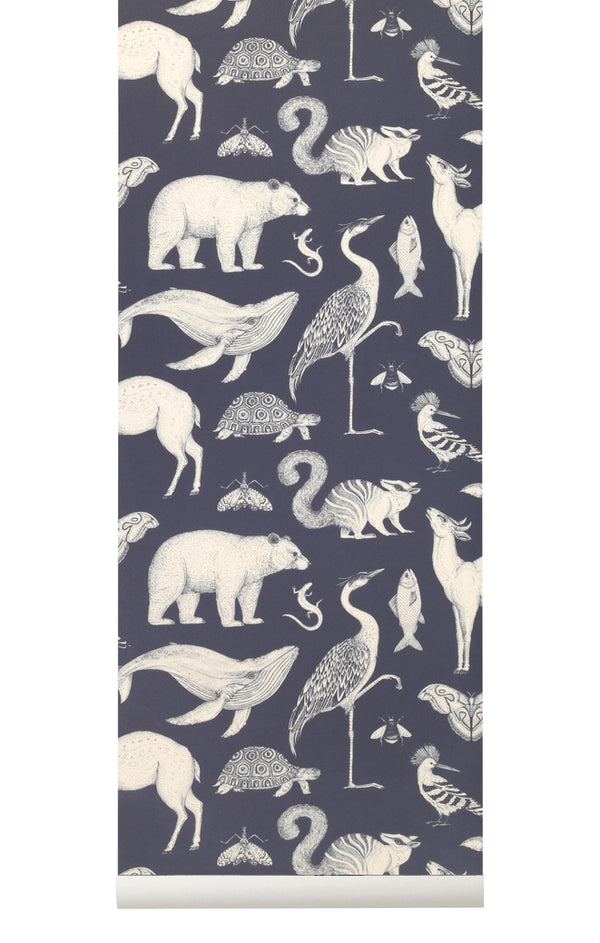 Katie Scott Wallpaper - Animals - Dark Blue