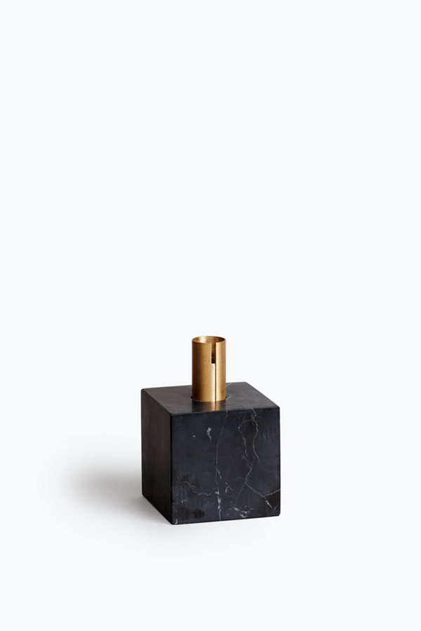 Block Candle Holder - Black Marquina Marble w. Brass