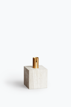 Block Candle Holder - Light Fossil Marble w. Brass