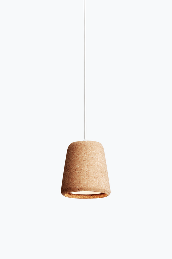 Material Pendant w. White Fitting - Natural Cork