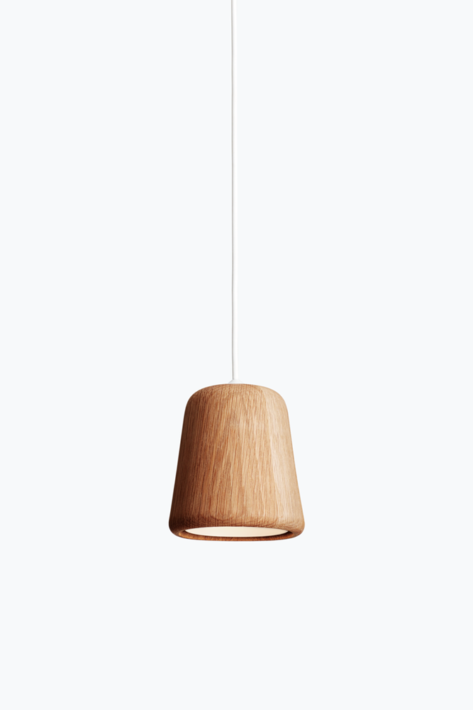 Material Pendant w. White Fitting - Natural Oak