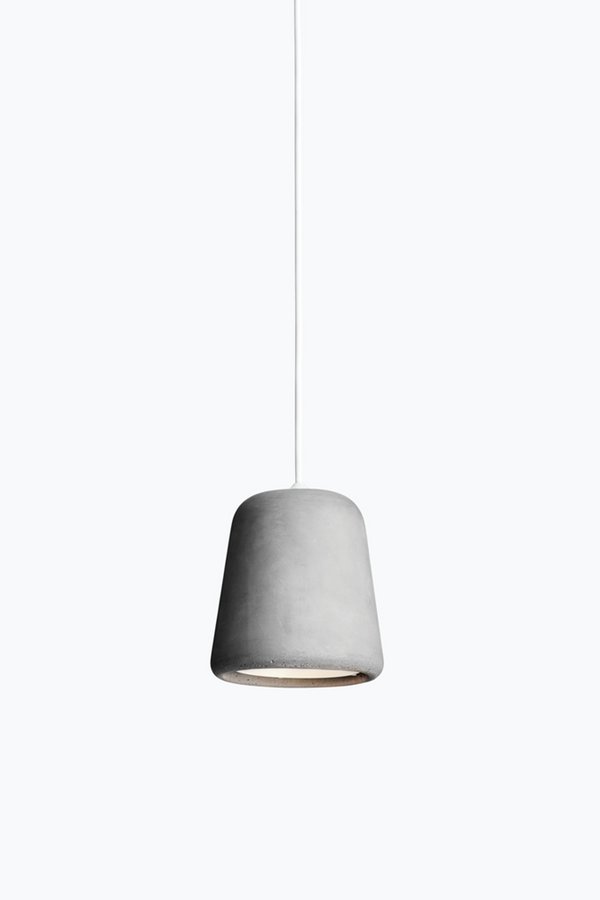 Material Pendant w. White Fitting - Light Grey Concrete