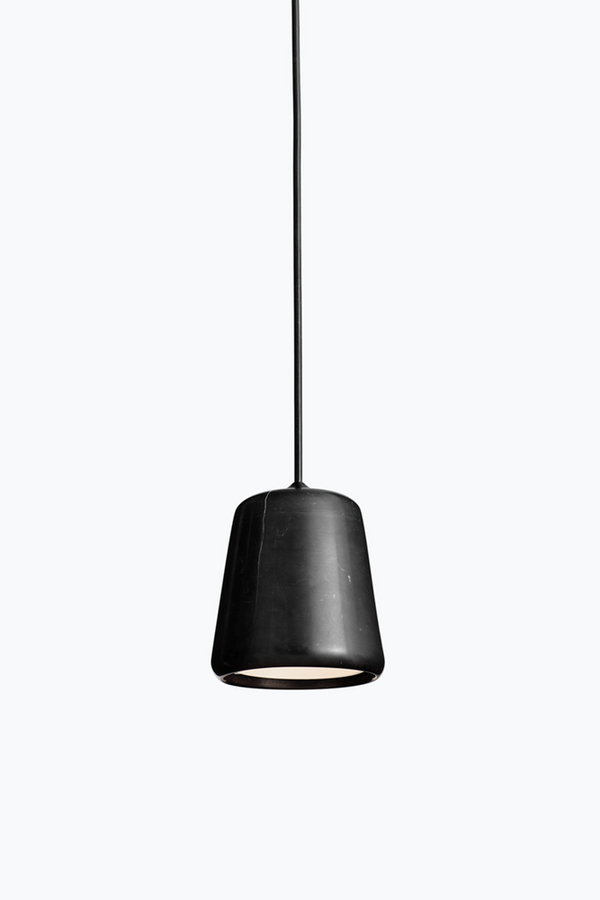 Material Pendant w. Black Fitting - Black Marble - Black Marble