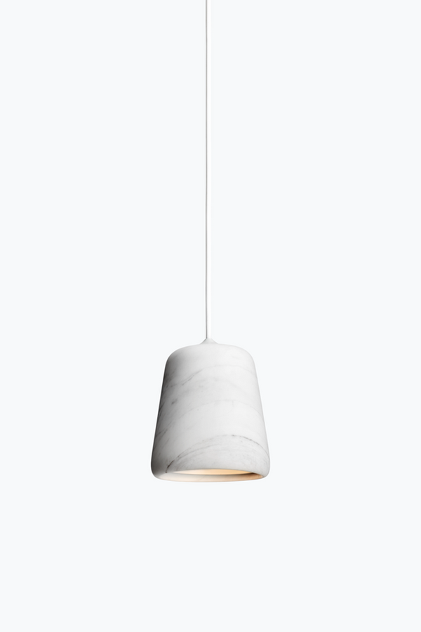 Material Pendant w. White Fitting - White Marble