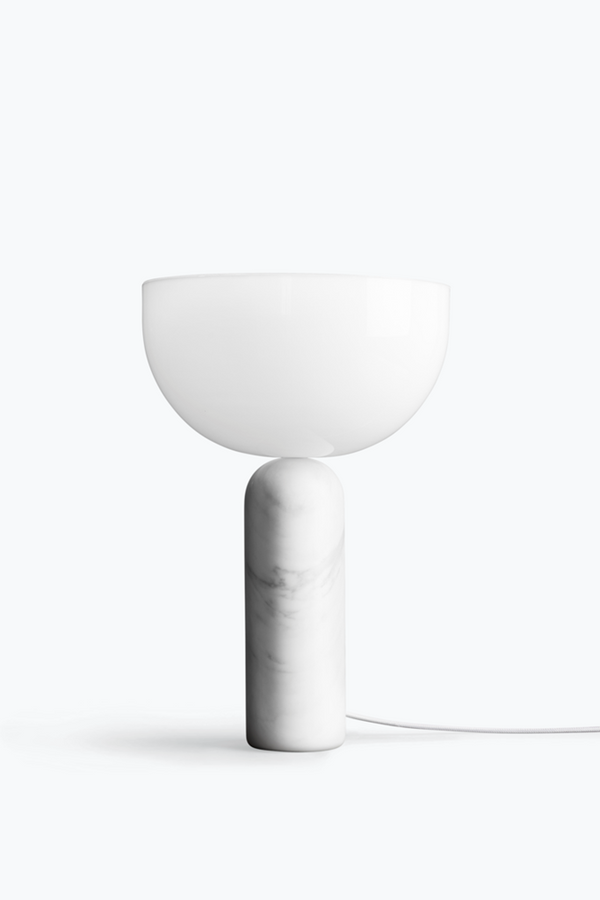 Kizu Table Lamp. Large - White Marble w. White Acrylic