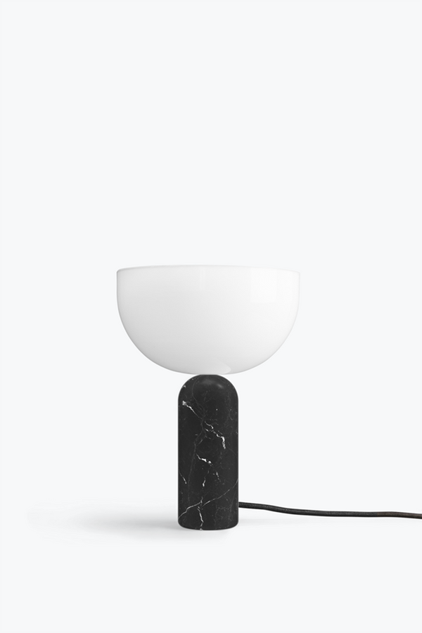 Kizu Table Lamp. Small - Black Marble w. White Acrylic