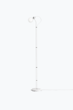 Five Floor Lamp - White w. White Marble Base