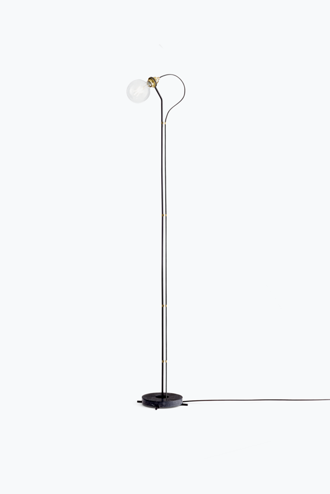 Five Floor Lamp - Black w. Black Marble Base