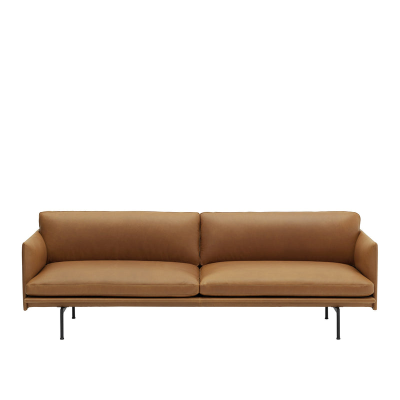 Outline Sofa 3 Seater - Silk leather/Cognac