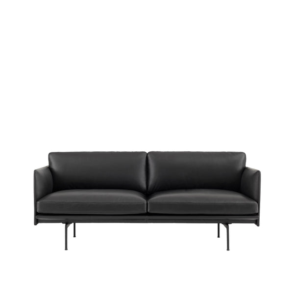 Outline - 2 Seater - Silk leather/Black