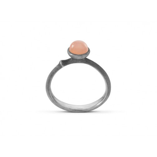 Lotus Ring - Sterling Silver - Blush Moonstone