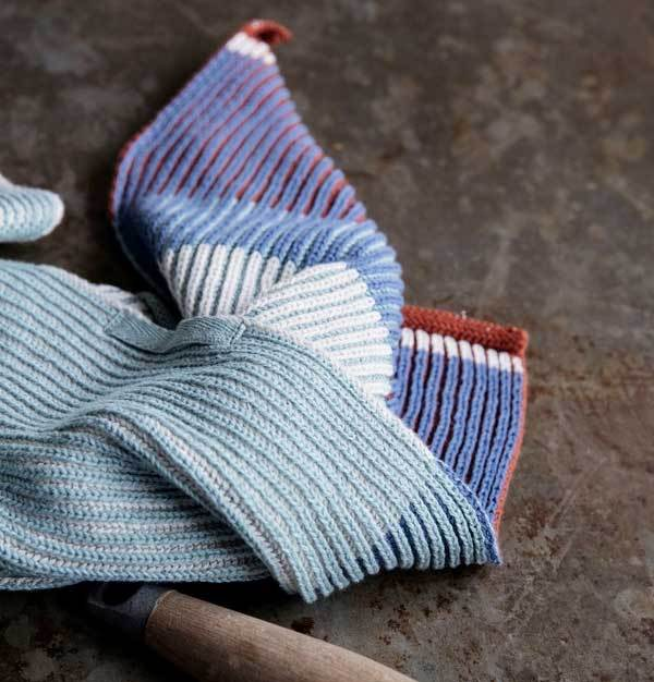 Akin Knitted Dish Cloth-Dull Blue-2pcs