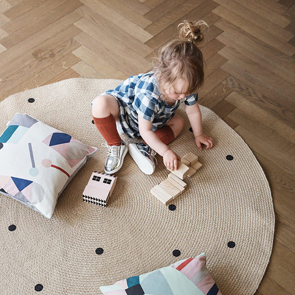 Jute Carpet - Black Dots - Small