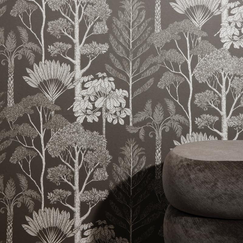 Katie Scott Wallpaper - Trees - Brown Gr