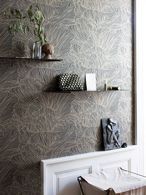 Coral Wallpaper - Dark Green/Gold