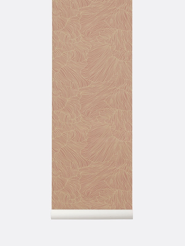 Coral Wallpaper - Dusty Rose/Beige