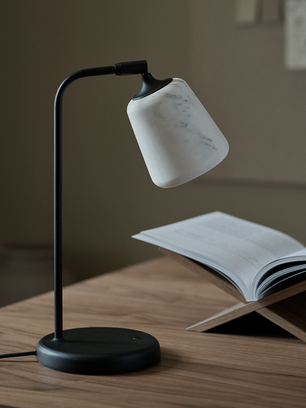 Material Table Lamp - White Marble