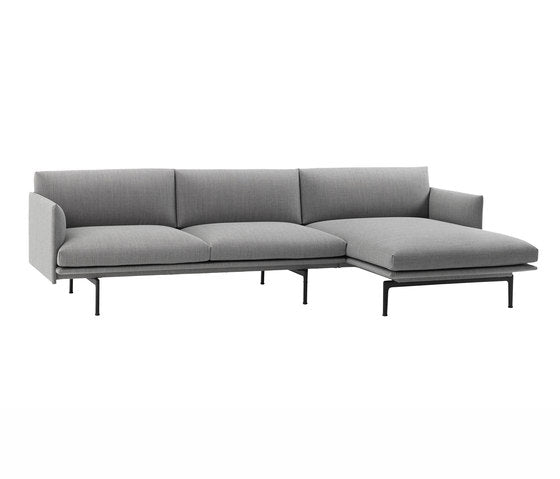 Outline Sofa Chaise Longue Right - Fiord - Black Base
