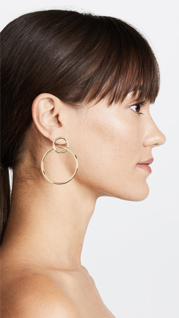 Double Circle Hoop Earring