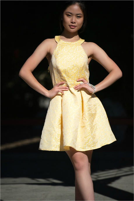 Voudra Moda-Yellow Halter Cocktail Dress-Voudra Moda
