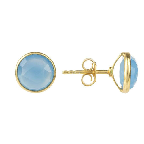 Voudra Moda-LATELITA LONDON Medium Circle Stud Gold Blue Chalcedony-LATELITA LONDON