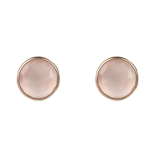 Voudra Moda-LATELITA LONDON Medium Circle Stud Rosegold Rose Quartz-LATELITA LONDON