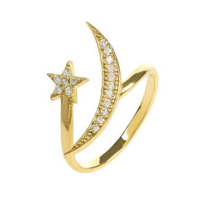 Voudra Moda-LATELITA LONDON Moon and Star Ring Gold White CZ-LATELITA LONDON
