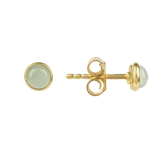 Voudra Moda-LATELITA LONDON Petite Stud Gold Aqua Chalcedony-LATELITA LONDON