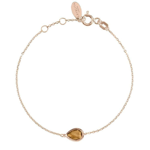 Voudra Moda-LATELITA LONDON Pisa Mini Teardrop Bracelet Rosegold Smokey Quartz-LATELITA LONDON