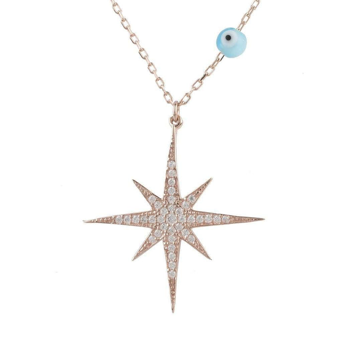 Voudra Moda-LATELITA LONDON Starburst Opalite Evil Eye Necklace Rosegold-LATELITA LONDON