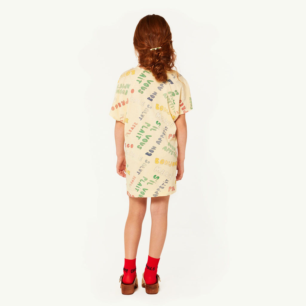 DRAGON KIDS DRESS, YELLOW WORDS - Cemarose Children's Fashion Boutique