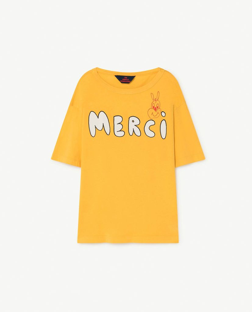 ROOSTER OVERSIZE KIDS T-SHIRT, YELLOW MERCI
